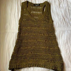 Forever 21 Dark Green Crochet Tank Top